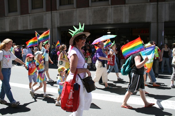 Lively Crowd At Gay Pride Parade in Boston 2009