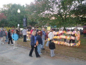 Families arriving early to check out the lantern display