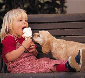 girl and puppy eating ice cream