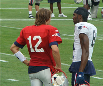 Tom Brady and Randy Moss at 2010 Training Camp