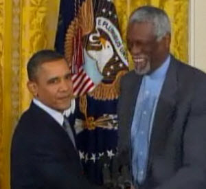 President Obama and Bill Russell Courtesy of NECN